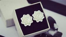 Shiny imitation white mother of pearl shell dahlia flower stud earrings