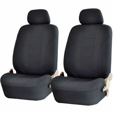 4PC ALL BLACK DBL STICH POLYESTER CLOTH FRONT CAR SEAT COVERS SET for DODGE