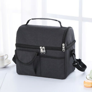Portable Thermal Oxford Lunch Bags Leak-proof Work Lunch Box Tote Cooler Handbag