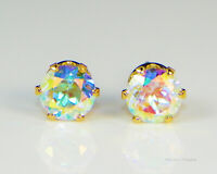 GOLD Plated Mercury Mystic Topaz Round Diamond Cut Stud Earrings (Free Gift Box)