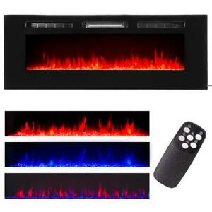 """60"""" Contemporary Electric Fireplace Wall Mounted Heater Multicolor Flame Remote"""