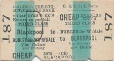 Otley & Ilkley Jt Railway ticket 187 - Burnley in W'fdale to BLACKPOOL via Colne