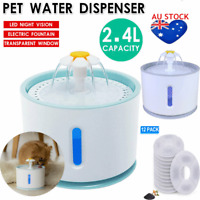 2.4L LED Auto Electric Pet Water Fountain Cat/Dog Drinking Dispenser Filters USB
