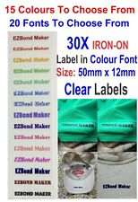 30x Clear Labels, Colour Font Iron On Name Labels Tags Printed