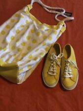 Coach Yellow Tennis Shoes, Size 7 and White/Yellow Polka Dot Bag