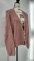 Womens Pink Long Sleeve Cable Knit 2 Button Cardigan Sweater Size Medium