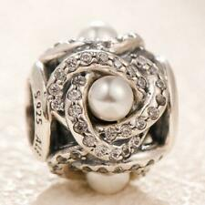Authentic Pandora Silver Luminous Love Knot Pearl Clear CZ Charm Bead #792105WCP