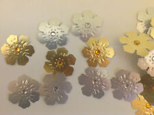 Embellissements argent/or en relief carte fleurs + Clair/Orange Strass 25of chaque