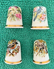 Set Of 4 Bird and Flower Thimbles, Fine Bone China By Theodore Paul