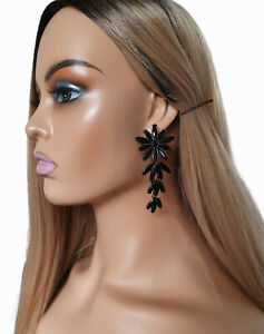 Beautiful 8cm long black diamante - crystal flower  layered drop earrings  #38