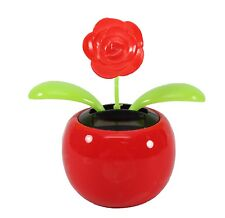Valentine's Dancing Flower Red Rose w/ Red Pot Solar Toy Lover Office Home Decor