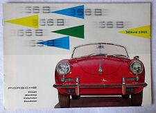 March 1961 Porsche 356B Original Sales Brochure Coupe Cabriolet T5 auf Deutsch