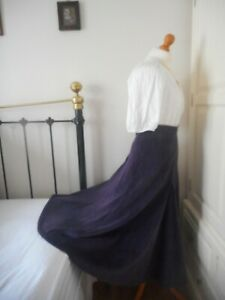 Droopy & Browns Purple Needlecord A-Line Riding Skirt Angela Holmes Size 10