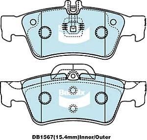 Brake Disc Pad Set  Bendix DB1657 GCT For MERCEDES-BENZ C-CLASS CLS E-CLASS S-CL