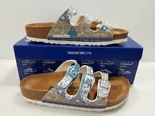 Birkenstock Unisex Ancient Mosaic Taupe Leather & Cork Arizona Sandals Size 38