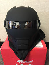 Masei 610Matt Black Atomic-Man Motorcycle Bike NHL MLB Chopper Mask HJC Helmet