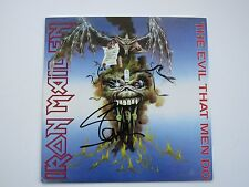 "Iron Maiden Signed 45 Cover By Steve Harris "" The Evil That Men Do "" With disc"