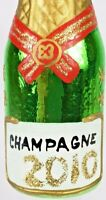 Ornament Champagne Bottle Glass Christmas Hand Painted Czechoslovakia 2010