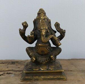 Antique Vintage Ganesh Hindu Bronze Brass Figure