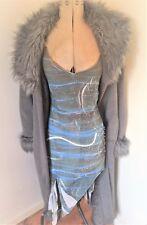 Ladies Grey Wool Mix Faux Fur Collar Duster Coat UK 14