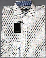 NEW $149 Bugatchi Long Sleeve Shirt Mens Shaped Fit White Geometric Candy NWT
