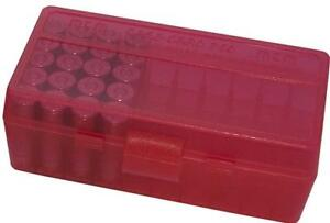 9mm / 380 Ammo Box Clear Red 50 Round (Quantity 1) Buy 5 Get 1 Free (MTM)