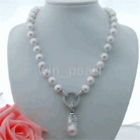 """White 13-14MM Drip Freshwater Pearl Tin Cup Necklace 14K GP 18/"""""""