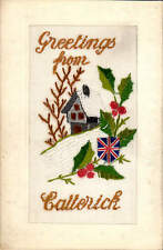 WW1 Silk. Greetings from Catterick. Cottage, Holly & British Flag Shield.