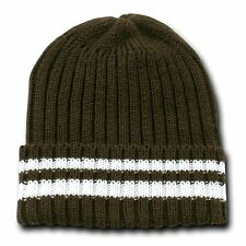 Brown & White Sweater Stripe Beanie Beanies Winter Warm Ski Skull Cap Hat Hats