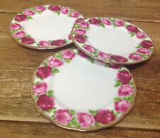 """Royal Albert Old English Rose Large Pink Gold Edge 3 Salad Dessert Plates 8 1/4"""""""