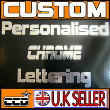 2x Personalised Chrome Lettering Vinyl Film Decal Sticker Home Business Car Bike