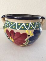 "Pottery Planter Floral Theme Hand Painted-Gorgeous! 5"" x 6"""