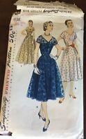 1950s Vintage Simplicity Pattern 1138 Cocktail Dress Sz 14 1/2 Bust 33, Waist 27