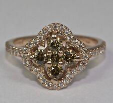 14k Rose Gold Round White Diamond And Champagne Diamonds Cross Ring Size 6