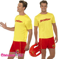 Mens Baywatch Lifeguard Costume Licensed Beach Swimming Party 80s Fancy Dress