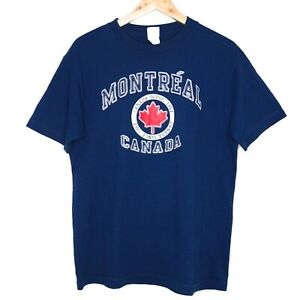 Montreal Canada Tourism Mens T-Shirt Size Medium Blue Alstyle Tag