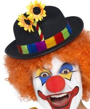 Clown Fancy Dress Bowler Hat with Flower New by Smiffys