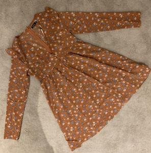 Boohoo Ditsy Floral Long Sleeve Smock Dress - Rust - Uk Size 12