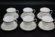 Wedgwood WINDSOR BLACK Footed Cup & Saucer - Set of Six