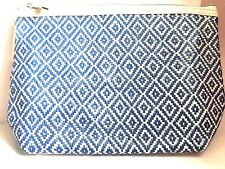 Blue and White Diamond Pattern Large Makeup Cosmetic Bag New/Tag from Nordstrom
