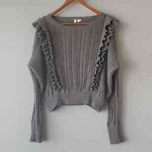 Anthropologie Moth Gray Long Sleeve Ruffle Cropped Sweater Womens Small
