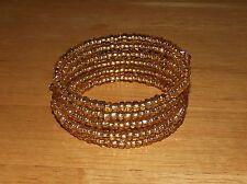 Stunning Gold Shimmer Beaded Wrap Coil Bracelet - USA Made - Golden Glass Beads