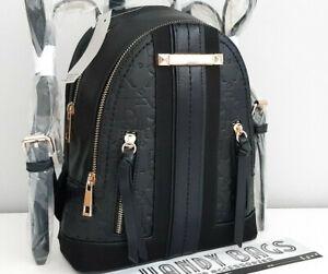 RIVER ISLAND Black RI Embossed Zip Front Backpack BNWT