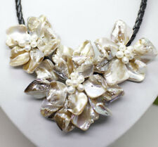"White Shell Pearl Flower Pendant Necklace 18"" Fashion Jewelry"