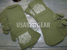 2 Pr New US Army Military OD Wool Trigger Finger Mitten Liner Cool Gloves Large