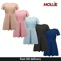 New Womens Ladies Short Sleeve Half Sleeve Flare Dress UK Sizes