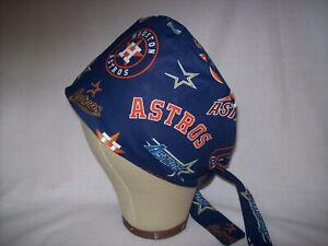 Men/Women Surgical Scrub Cap Lined Houston Astros 100% Cotton MLB
