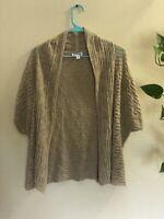 St Johns Bay Women's Cardigan Sweater Knit Tan/Beige Short Sleeve Size Large