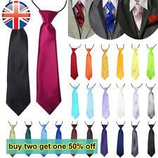 *UK Seller* EASY FIT Elastic Neck Tie Satin Boys Kids School Wedding 16 COLOURS