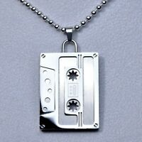 Silver Stainless Steel Cassette Tape Audio Music Pendant Ball Chain Necklace